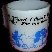 SALE Vintage Hazel Atlas Kiddie Ware Blue and White Prayer Mug With Children