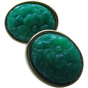 SALE Vintage Oval Faux Jade Pierced Earrings
