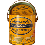 SALE 2 Lb. Armour's Veribest Peanut Butter Tin, Lid, Mother Goose Nursery Rhyme