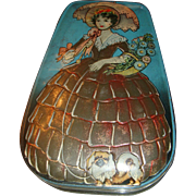 SALE Vintage English Candy Tin Southern Belle Lady With Parasol Walking Her Pekinese Dog