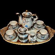 13 Piece Japan Moriage Dragonware Dragon Ware Tea or Chocolate Pot Set Slip Decoration
