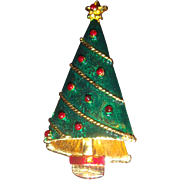 SALE Enameled Christmas Tree Pin With Lights and Garland