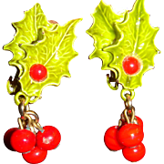 SALE Vintage Christmas Enameled Holly Leaves and Dangling Berries Clip on Earrings
