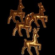 SALE 4 Vintage Hong Kong Hollow Gold Plastic Reindeer Ornaments for Christmas