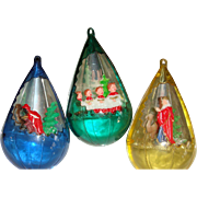 SOLD 3 Vintage Diorama Christmas Ornaments Wise Men, Camels, Choir Boys Atomic Era