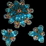 SALE Vintage Aqua Marquise Aurora Borealis Brooch Earrings Set KY Estate
