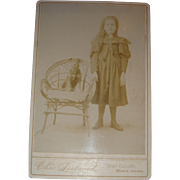 Long Hair Little Girl and Her Dog Twig Chair Cabinet Card Muncie, Indiana