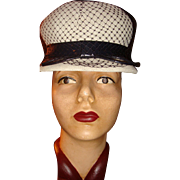 SALE Navy White Spectator Cloche Hat Patent Leather, Diamond Design Netting, Tightly Woven ...
