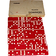 Original Boxed Set Vintage Red Bakelite Marblelike Dominoes Made in U. S. A.