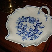 Large Meissen Handled Relish or Serving Bowl Blue & White