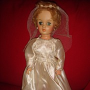 "18"" Deluxe Reading Bride Doll from 1950's Good Cheek Color"