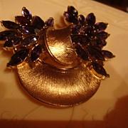 CROWN TRIFARI Brooch Brushed Goldtone & Deep Purple Amethyst Rhinestones