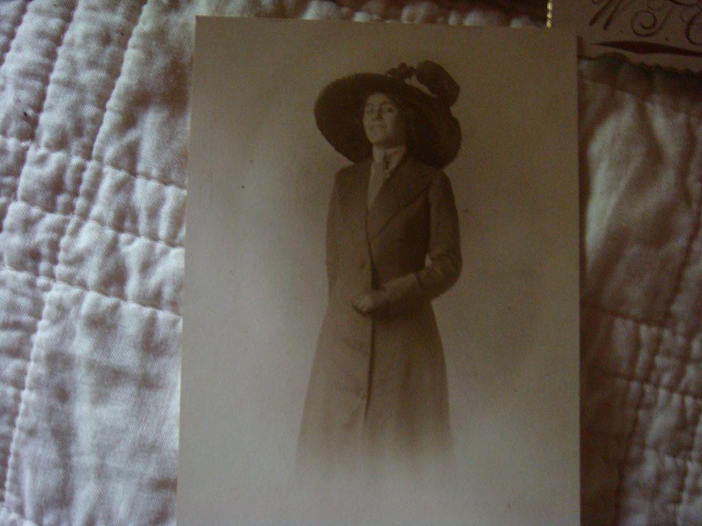 Miss Derby Day Perhaps...Coat Dress & Huge Decorative Hat Old Photo!