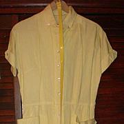 Vintage Abby Kent New York Shirtwaist Dress Yellow White Stripe Patent / Lucite Belt