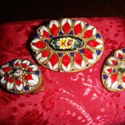 Intricate and Delicate Patriotic Red, White, Blue + More Micromosaic Brooch & Earrings Trumpet