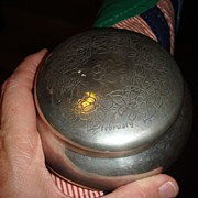 SOLD ON HOLD Beautiful Vintage Kirk Stieff Pewter Powder Jar or Jewelry Box Violets, Engraved