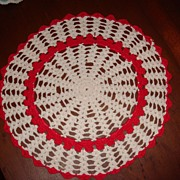 Wonderful Bright Red and White Vintage Crocheted Round Doily or Scarf