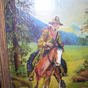 SALE Cowboy Painting Man on Horse