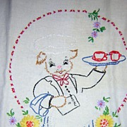 Hand Embroidered Dog Waiter Dish Towel