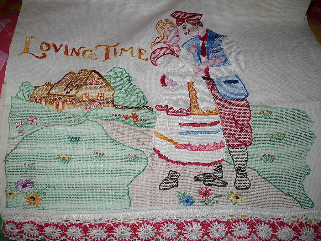 Vintage Hand Embroidered Huck Towel Loving Time