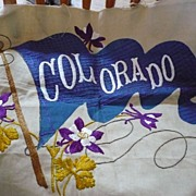 Vintage Embroidered Colorado Flag & Flowers
