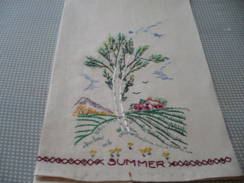 Hand Embroidered Summer Towel