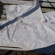 Hand Embroidered Dog Runner & Placemats