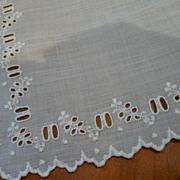 Vintage Linen Handkerchief Eyelets for Ribbon