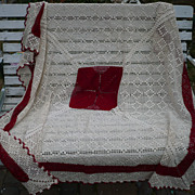 Vintage Cream & Red Crochet Tablecloth