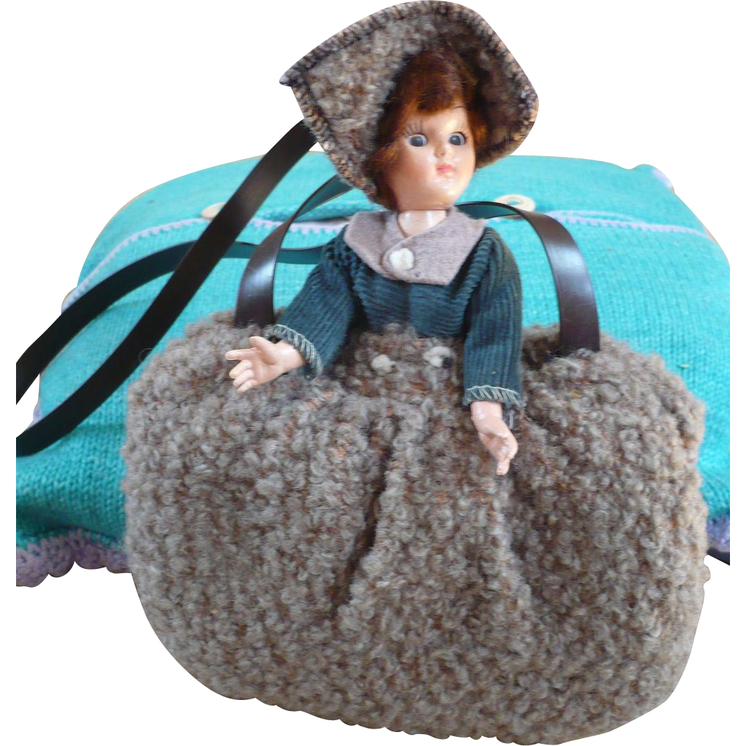 Vintage Childs Muff with Doll Top