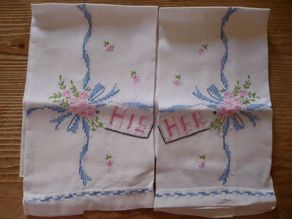 Hand Embroidered His Hers Guest Towels
