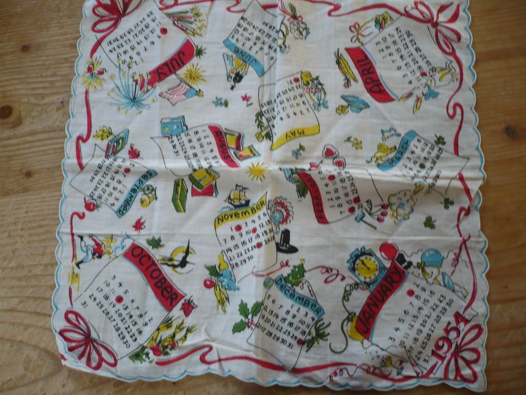 1954 Calendar Handkerchief