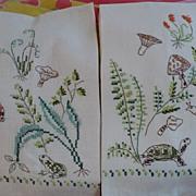 Hand Embroidered Mushroom Towels