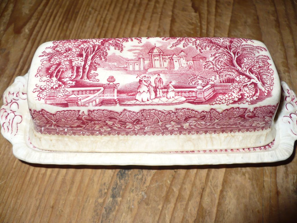 Mason's Vista Pink Transferware Covered Butter Dish