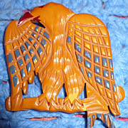 Bakelite Carved Eagle Pin