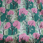 SOLD Vintage Pink Green Tree Fabric