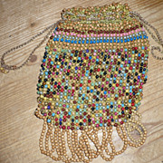 Wooden Beaded Crochet Purse