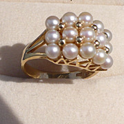 SALE 14K Cultured Pearl Ring