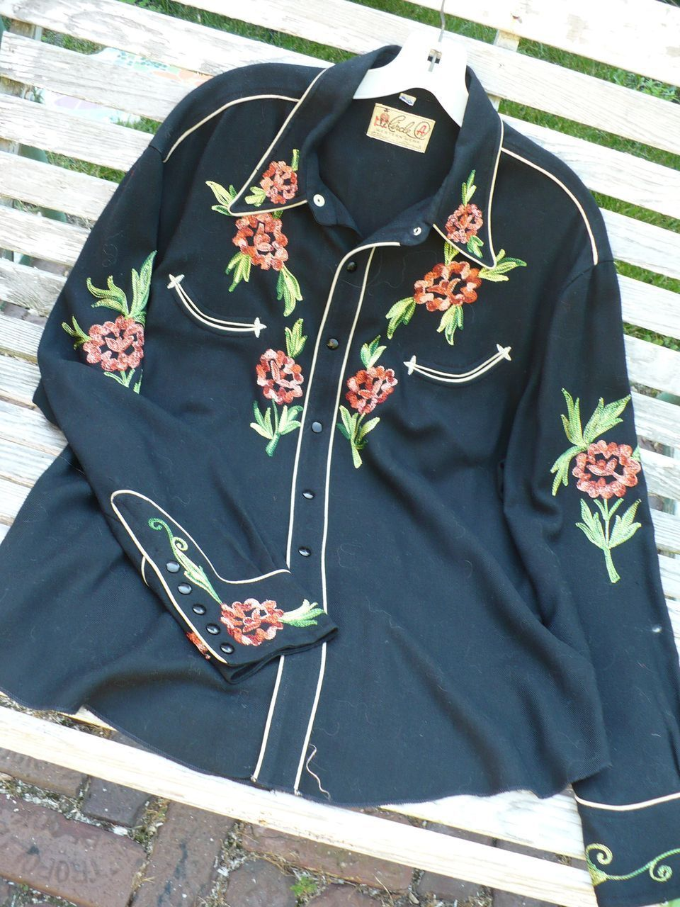 Mid Century Western Embroidered Cowboy Shirt