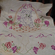 Hand Embroidered Cat  Vanity Set
