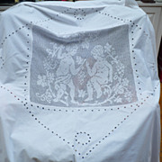 Vintage Hand Crochet Embroidered Panel