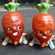 Vintage Turnip & Carrot  People Salt & Pepper