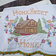 Vintage Hand Embroidered Home Sweet Home Towel