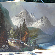 Oil Painting Mountain Scene Canvas by Ronaldo