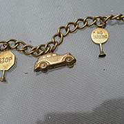 Vintage Brass Car Street Signs Bracelet