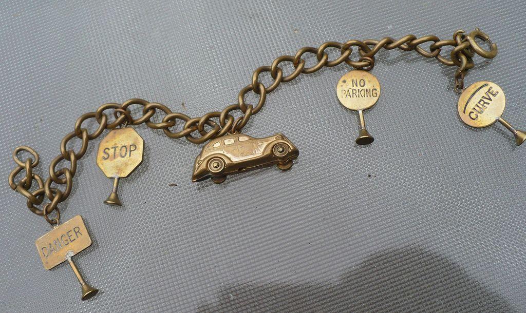 Vintage Brass Car Street Signs Bracelet