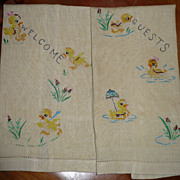 Welcome Guests Baby Duckiling Embroidered Towels