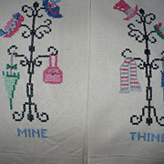 Hand Embroidered Coatrack Guest Towels