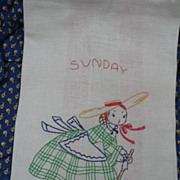 Sunday Hand Embroidered Towel