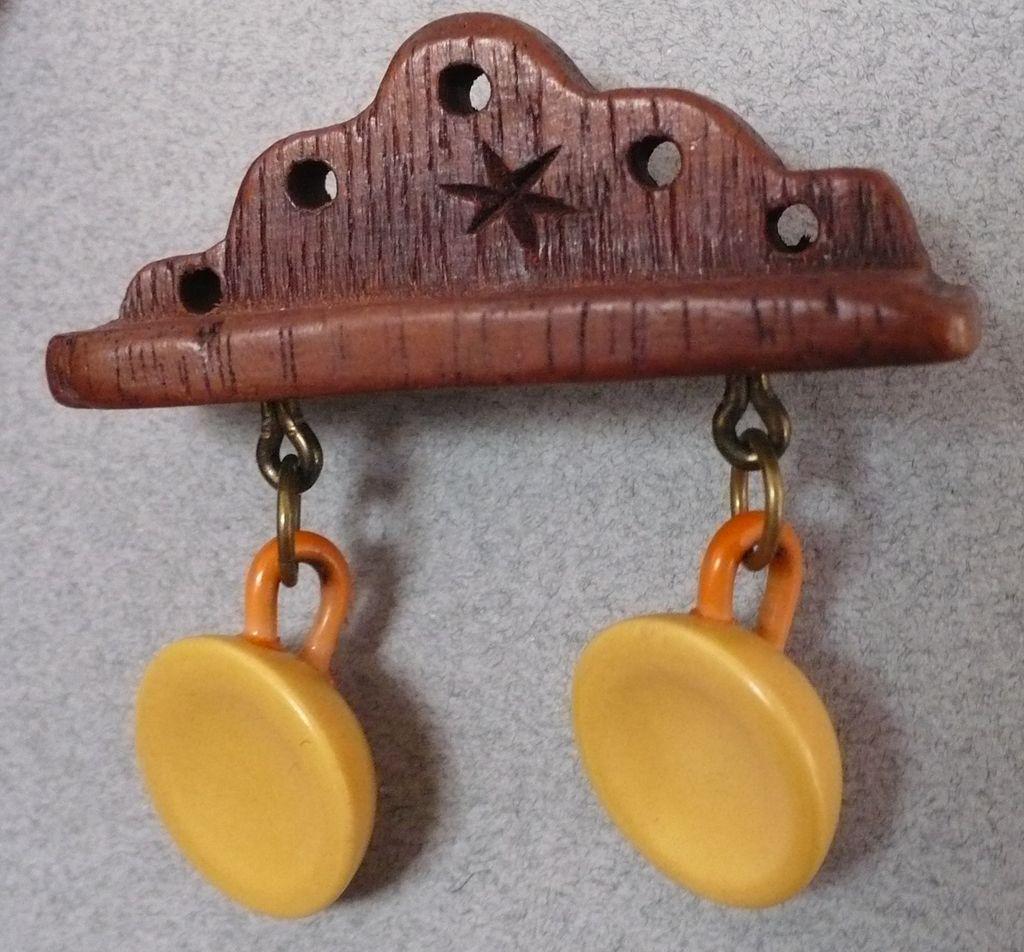 Bakelite & Wood Shelf with Cups Pin